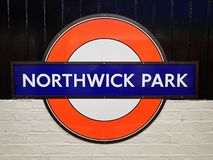 Muestra del ferrocarril de subterráneo del parque de Northwick imágenes de archivo libres de regalías