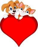 Muestra del gato y del perro de la tarjeta del día de San Valentín Imagenes de archivo