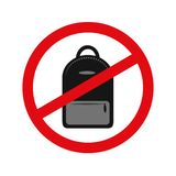 Muestra del icono de la prohibici?n de la mochila en el fondo blanco ilustración del vector