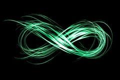 Muestra del infinito creada por la luz de neón del helada en un fondo negro ilustración del vector