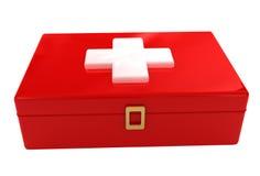 Muestra del kit del rectángulo de los primeros auxilios del rojo Imagen de archivo libre de regalías