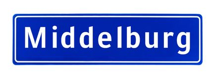 Muestra del límite de ciudad de Middelburg, los Países Bajos Imágenes de archivo libres de regalías
