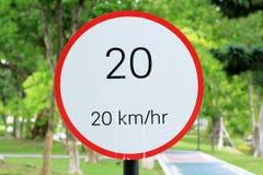 Muestra 20 del límite de velocidad Imágenes de archivo libres de regalías