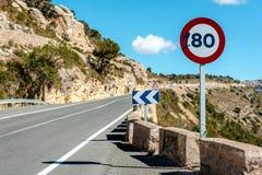 muestra del límite de velocidad de 80 kilómetros por hora Fotos de archivo libres de regalías