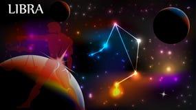 Muestra del libra y espacio astrológicos de la copia ilustración del vector