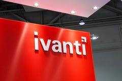 Muestra del logotipo de la compañía de Ivanti en la exposición el CeBIT justo 2017 en Hannover Messe, Alemania imagen de archivo libre de regalías