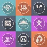 Muestra del logotipo del menú del icono de la cocina del vector Imagen de archivo libre de regalías