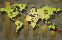 Muestra del mapa del mundo y de dólar con el barra-gráfico y la moneda. Imagen de archivo
