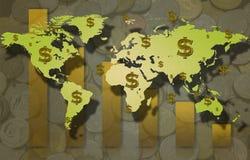 Muestra del mapa del mundo y de dólar con la moneda y Fotos de archivo