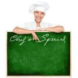 Muestra del menú del cocinero Foto de archivo libre de regalías