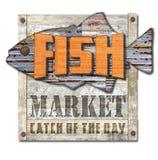 Muestra del mercado de pescados del vintage fotos de archivo libres de regalías