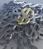 Muestra del metal del dólar de EE Imagen de archivo libre de regalías