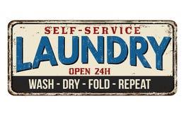 Muestra del metal del vintage del lavadero Fotos de archivo libres de regalías