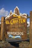 Muestra del monumento de la ciudad del EL Chalten Fotografía de archivo libre de regalías