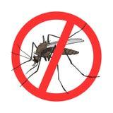 Muestra del mosquito de la parada, imagen del vector en un círculo cruzado rojo de la salida stock de ilustración