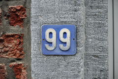 Número noventa y nueve Fotos de archivo