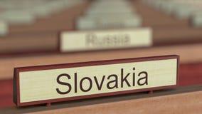 Muestra del nombre de Eslovaquia entre placas de los países diferentes en la organización internacional almacen de video