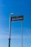 Muestra del nombre de la calle de Milczanska Imágenes de archivo libres de regalías