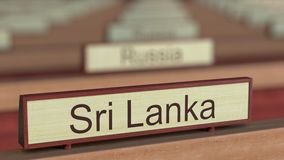 Muestra del nombre de Sri Lanka entre placas de los países diferentes en la organización internacional libre illustration