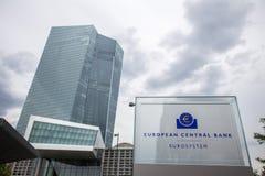 Muestra del nuevo Banco Central Europeo en Francfort Alemania imagen de archivo