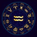 Muestra del oro del acuario del zodiaco en círculo stock de ilustración