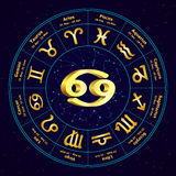 Muestra del oro del cáncer del zodiaco en círculo ilustración del vector