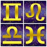 Muestra del oro del zodiaco (02) Imágenes de archivo libres de regalías