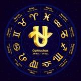 Muestra del oro del zodiaco Ophiuchus en círculo ilustración del vector