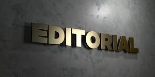 - Muestra del oro montada en la pared de mármol brillante - 3D editorial rindió el ejemplo común libre de los derechos Imagen de archivo libre de regalías