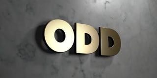 - Muestra del oro montada en la pared de mármol brillante - 3D impar rindió el ejemplo común libre de los derechos Foto de archivo libre de regalías