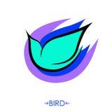 Muestra del pájaro de Stulized Dibujo lineal aislado en blanco Foto de archivo