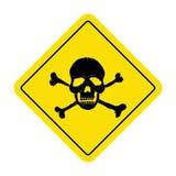 Muestra del peligro con símbolo del cráneo Muestra mortal del peligro, señal de peligro Foto de archivo libre de regalías
