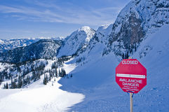 Muestra del peligro de la avalancha Imagen de archivo libre de regalías