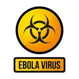 Muestra del peligro del amarillo de Ebola Vector Imagen de archivo libre de regalías