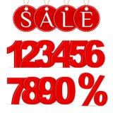 Muestra del por ciento, números 0-9 y etiquetas rojos de una venta libre illustration