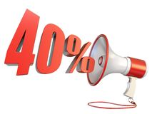muestra del 40 por ciento y megáfono 3D stock de ilustración