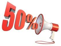 muestra del 50 por ciento y megáfono 3D ilustración del vector