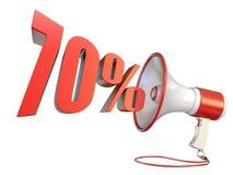 muestra del 70 por ciento y megáfono 3D ilustración del vector