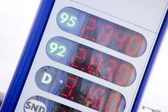 Muestra del precio de la gasolina Foto de archivo