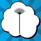 Muestra del rastrillo del césped Vector Icono negro en burbuja en el CCB azul del estallido-arte libre illustration