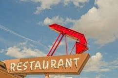 Muestra del restaurante con la flecha Foto de archivo