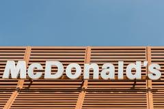 Muestra del restaurante de McDonalds Fotos de archivo