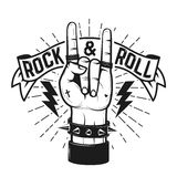 Muestra del rock-and-roll Mano humana con la muestra de metales pesados Foto de archivo libre de regalías