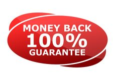 Muestra del rojo de la garantía del reembolso del dinero el 100% Foto de archivo libre de regalías