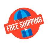 Muestra del rojo del envío gratis emblema de la entrega del paquete Imagen de archivo libre de regalías