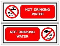 Muestra del símbolo del agua no potable, ejemplo del vector, aislante en la etiqueta blanca del fondo EPS10 ilustración del vector