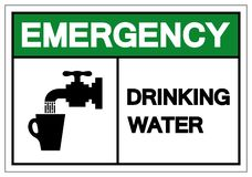 Muestra del símbolo del agua potable de la emergencia, ejemplo del vector, aislante en la etiqueta blanca del fondo EPS10 stock de ilustración