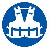 Muestra del s?mbolo del chaleco salvavidas, ejemplo del vector, aislante en la etiqueta blanca del fondo EPS10 libre illustration