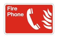 muestra del símbolo de la seguridad contra incendios del teléfono del símbolo en el fondo blanco, ejemplo del vector ilustración del vector