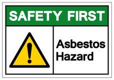 Muestra del s?mbolo del peligro del amianto de la seguridad primero, ejemplo del vector, aislado en la etiqueta blanca del fondo  ilustración del vector